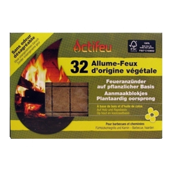 allume feu bois 32 cubes 200gr. Black Bedroom Furniture Sets. Home Design Ideas