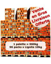 Achat en gros briquettes lignite 10kg x 96 packs