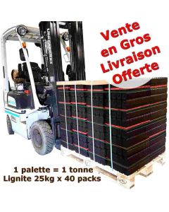 Achat en gros briquettes lignite 25kg x 40 packs