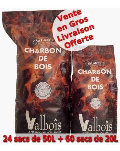 Lot panaché Charbon de Bois 20L et 50L